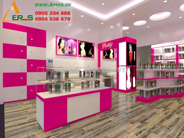Hình ảnh thiết kế thi công cửa hàng mỹ phẩm Pretty