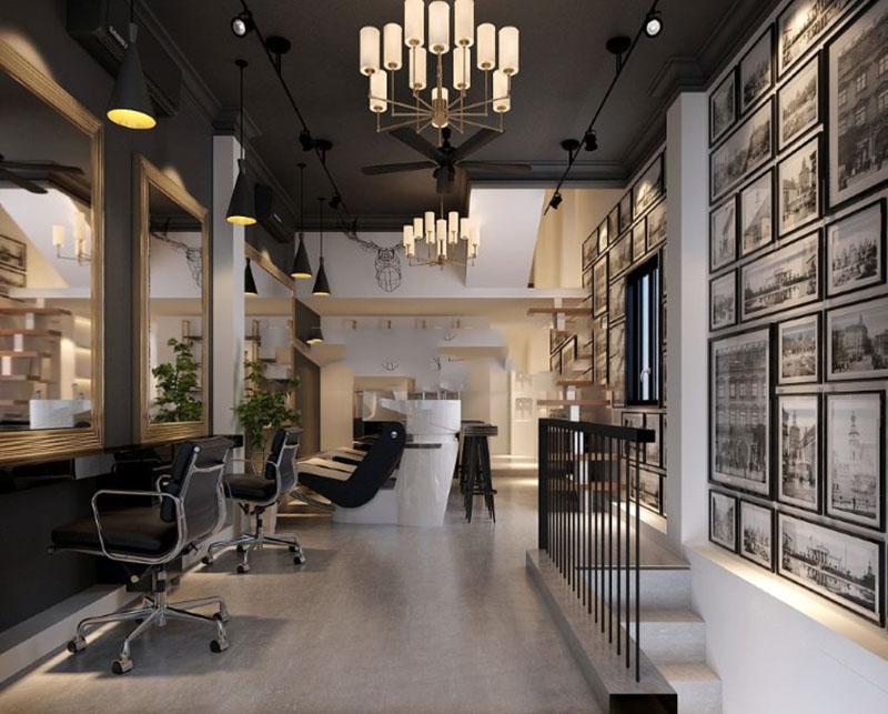 Hình ảnh thiết kế thi công cửa hàng nội thất salon tóc
