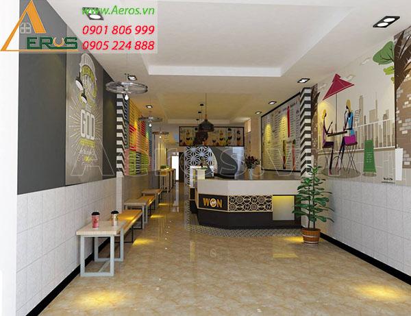Thiết kế nội thất quán trà sữa Won Cha tại quận 5, TP.HCM