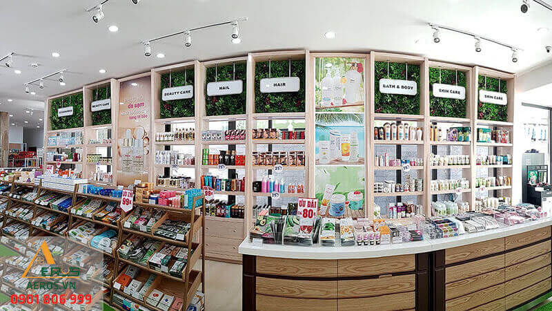 mẫu cửa hàng mỹ phẩm đẹp