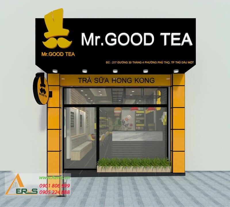 thiết kế thi công quán trà sữa mr good tea