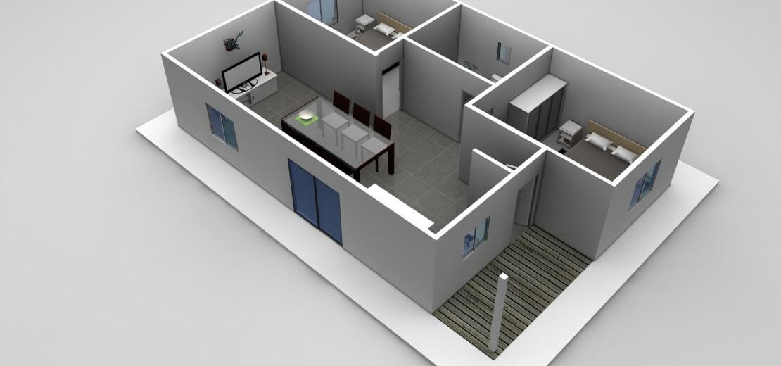 thiết kế căn hộ 40m2 2 phòng ngủ