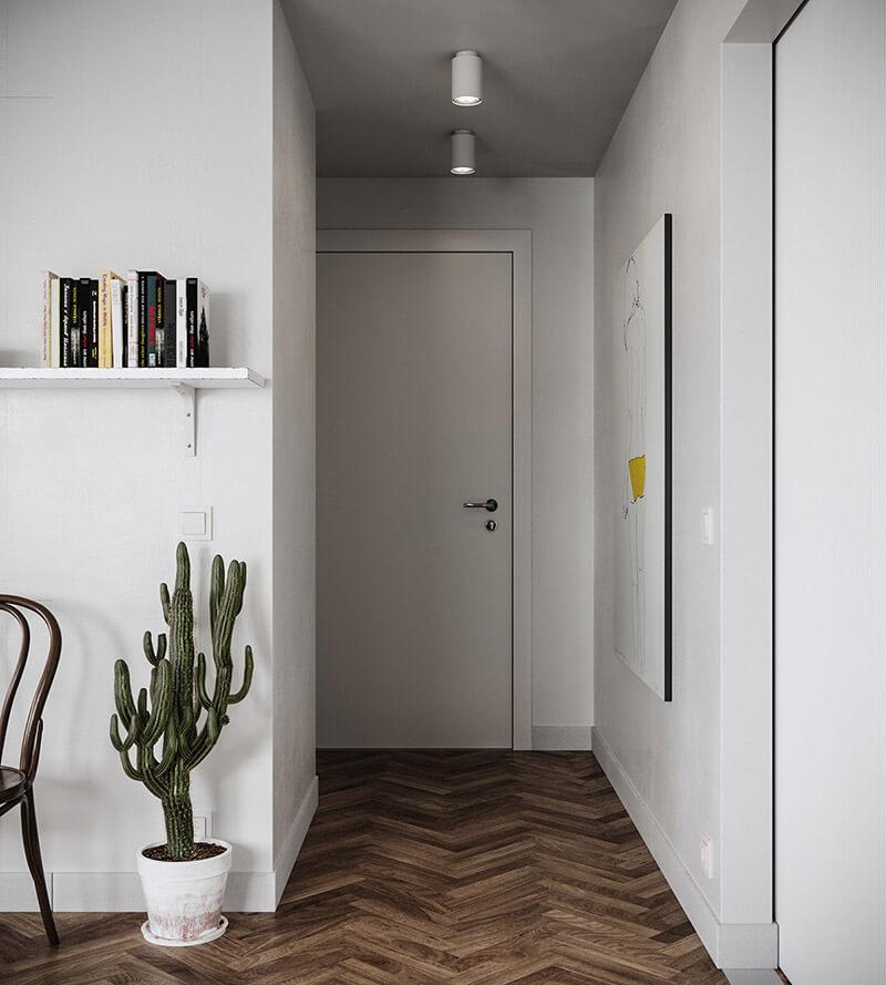 thiết kế căn hộ chung cư 45m2 2 phòng ngủ