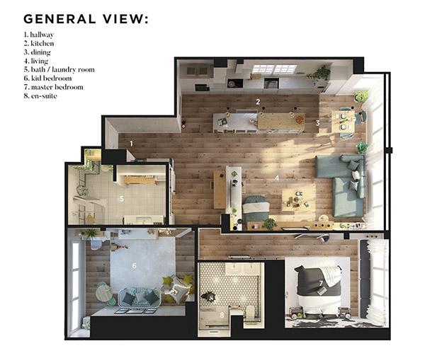 Thiết kế chung cư 80m2 2 phòng ngủ