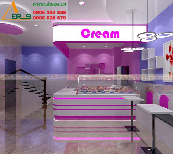 Hình ảnh thiết kế thi công quán trà sữa anh Biếu