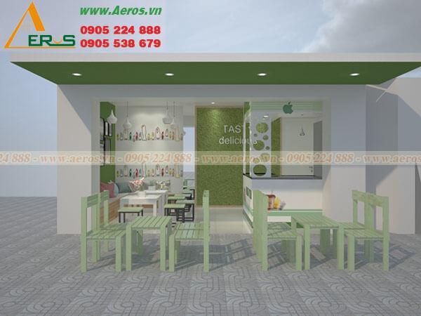 Hình ảnh thiết kế thi công quán trà sữa Apple