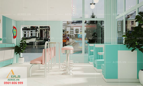 Thiết kế quán trà sữa Chamichi Retro tại Hà Nội