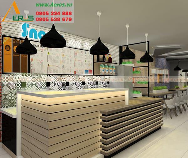 Hình ảnh thiết kế thi công quán trà sữa Snows