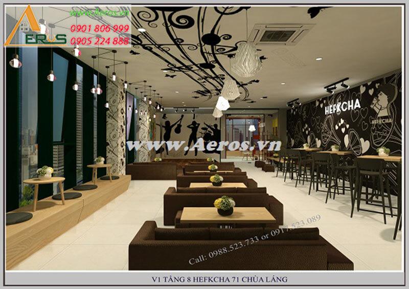 Thiết kế thi công quán trà sữa Hefkcha - Hà Nội