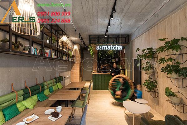 Thiết kế quán trà sữa Matcha tại quận 5, TP.HCM