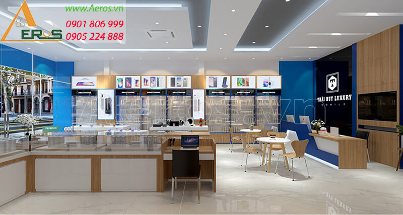 Hình ảnh thiết kế thi công shop điện thoại Thái Huy Luxury