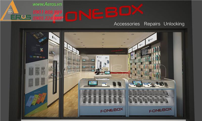 Hình ảnh thiết kế thi công cửa hàng điện thoại FONEBOX
