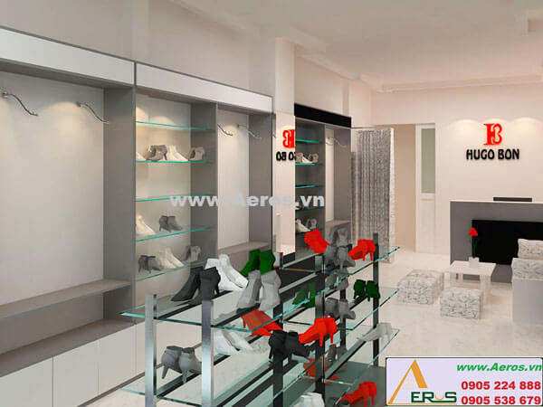 Hình ảnh thiết kế thi công shop giày dép Hugo Bon