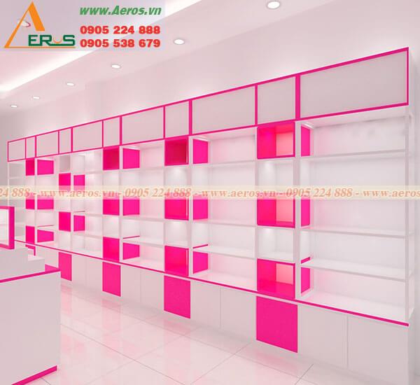 Hình ảnh thiết kế và thi công cửa hàng mỹ phẩm SH Shop