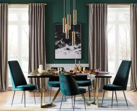 30 Mẫu thiết kế và trang trí phòng ăn màu xanh với phong cách tươi mới