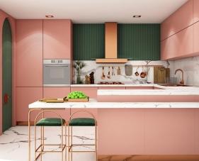 40 Mẫu phòng bếp màu hồng đẹp ngất ngây dành cho hội chị em