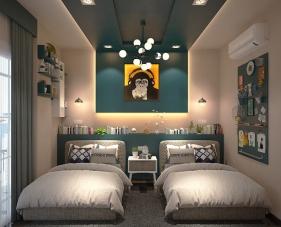 Không gian rộng rãi vàthoải mái với cách trang trí phòng ngủ 2 giường