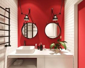 40 Gợi ý thiết kế phòng tắm màu đỏ siêu nổi bật