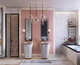 40 Gợi ý thiết kế phòng tắm màu hồng đẹp mê mẩn