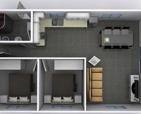 Đơn giản với những mẫu thiết kế căn hộ 50m2 2 phòng ngủ