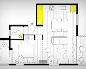 Tham khảo thiết kế chung cư 46m2 siêu tiện nghi dành cho các cặp vợ chồng