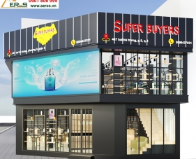 Thiết kế nội thất cửa hàng mỹ phẩm Super Buyers - Quận 3
