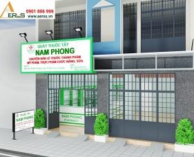 Thiết kế nội thất nhà thuốc tây Nam Phong - Long An