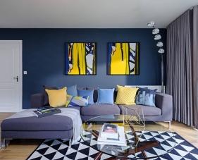 Thiết kế phòng khách màu xanh dương đem lại nhiều hiệu quả phong thủy