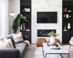 22 Mẫu trang trí phòng khách màu trắng đen hiện đại và sang trọng